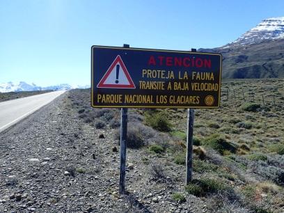 Panneau incitant les automobilistes à faire attention à la faune dans le Parc National de Los Glaciares.