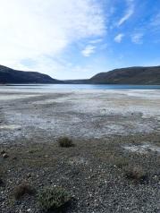 À proximité de Torres del Paine le niveau de la Laguna Amarga descend à vue d'oeil.