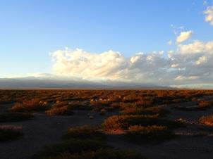 Le soleil décline sur le désert, le vent se lève