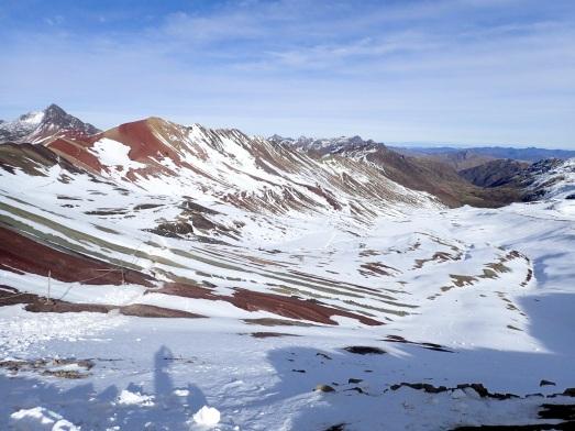Vue sur la Vallée Rouge par laquelle il est possible de redescendre de l'autre coté du col Vinicunca