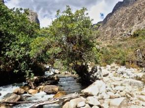 Ascension par les gorges de la riviere en direction du premier camp Llamacorral